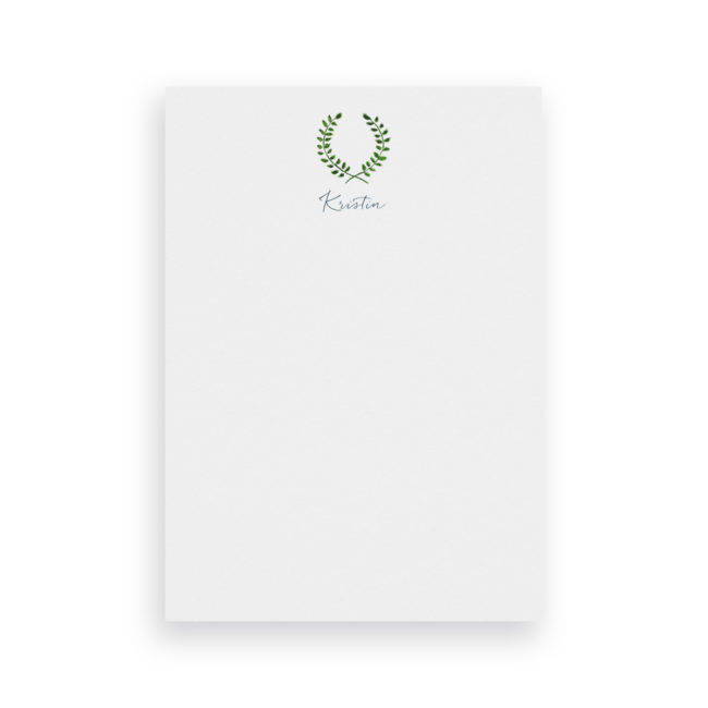 laurel wreath classic notepad printed on White paper.