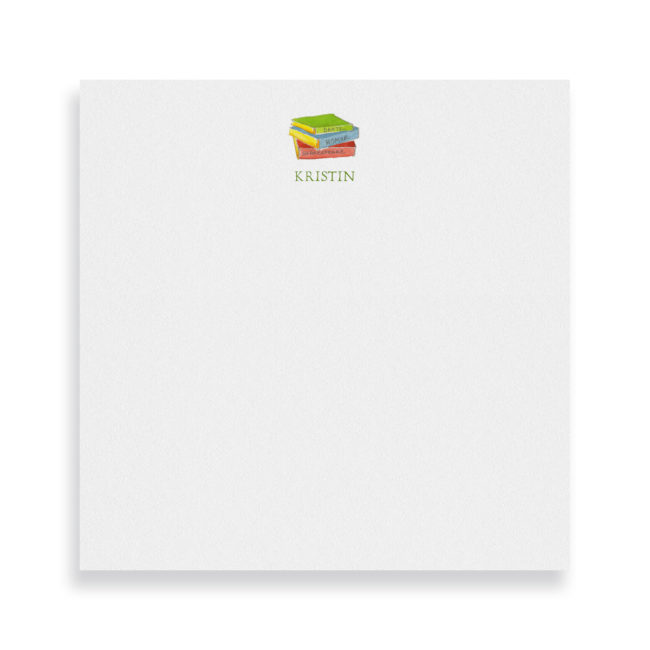 Books image adorns a Square Notepad printed on white paper.