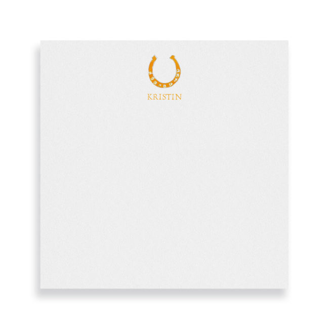 horseshoe square notepad printed on white paper