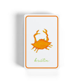 orange crab image adorns classic playing cards