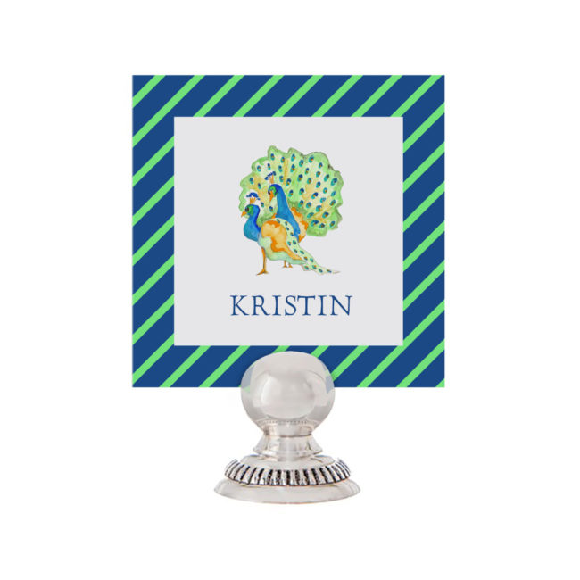 Peacock Place Card printed on White paper.