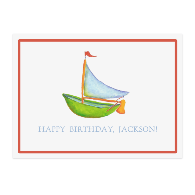 Sailboat image adorns a paper placemat printed on White paper.
