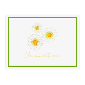 Daisy image adorns a paper placemat printed on White paper.
