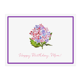 purple hydrangea placemat printed on White paper.