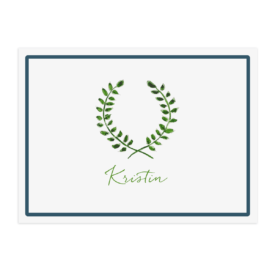 personalized placemat featuring laurel wreath printed on white paper