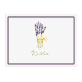 lavender image adorns a paper placemat printed on White paper.