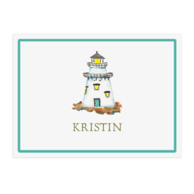 Personalized lighthouse paper placemat printed on White paper.