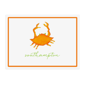 orange crab image adorns a placemat printed on White paper.
