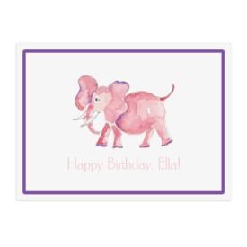 pink elephant paper placemat printed on White paper.