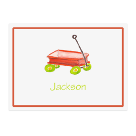 red wagon image adorns a personalized placemat printed on White paper.