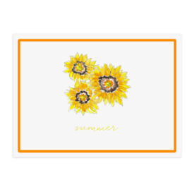 sunflowers image adorns a paper placemat printed on White paper.