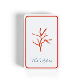 red coral image adorns classic playing cards