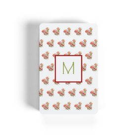 red hydrangea motif adorns playing cards