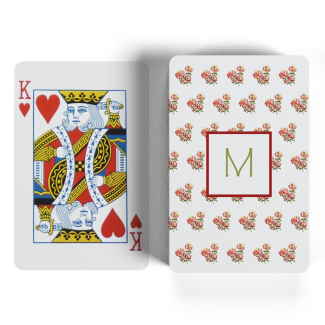 red hydrangea motif playing cards