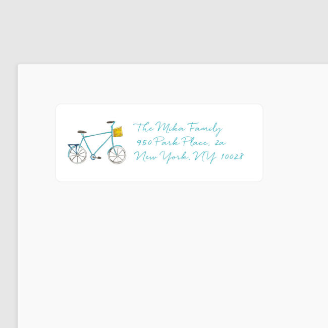 return address label featuring a bicycle