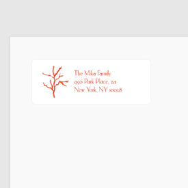 Return address sticker red coral