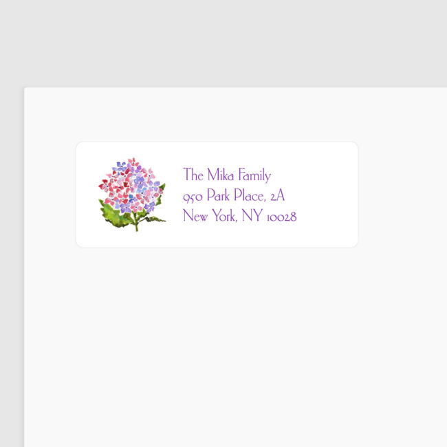 hydrangea image adorns a return address label