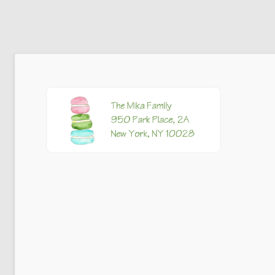 macaroons image adorns a personalized return address label