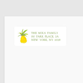 pineapple image adorns a personalized return address label