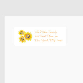 sunflowers image adorns a personalized return address label