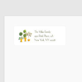 topiaries trees adorn a personalized return address label