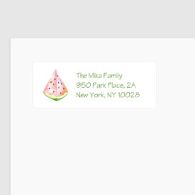 watermelon image adorns a personalized return address label