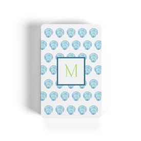 blue shell motif adorns playing cards