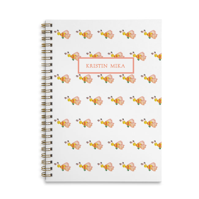 bee spiral bound notebook with blank pages.