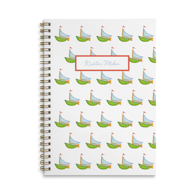 boat spiral bound notebook with blank pages.