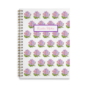 hydrangea spiral bound notebook with blank pages.