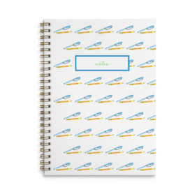 pen and pencil spiral bound notebook