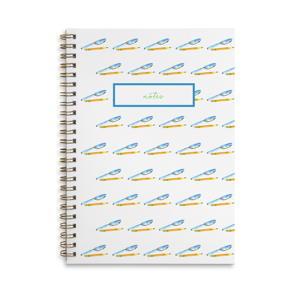 pen and pencil spiral bound notebook that can be personalized.