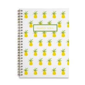 Pineapple Spiral Notebook with blank pages.