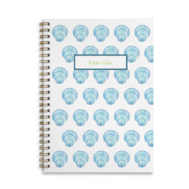 blue shell image adorns a spiral bound notebook that can be personalized.