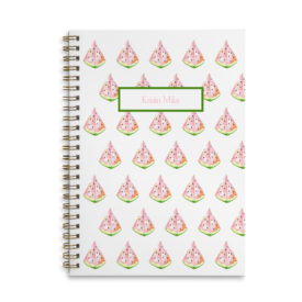watermelon image adorns a spiral bound notebook that can be personalized.