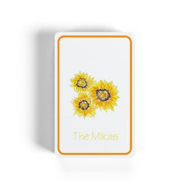 sunflowers adorn classic playing cards