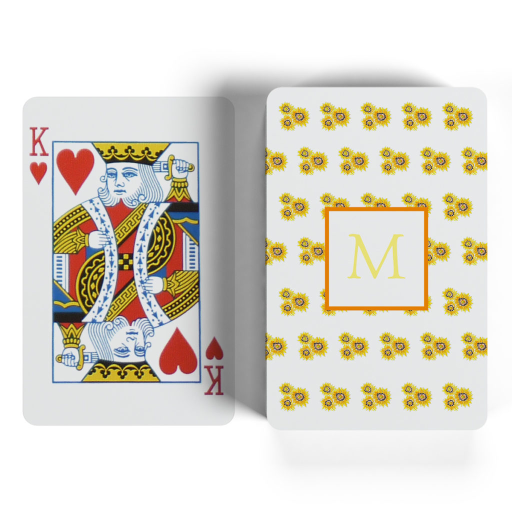 sunflowers motif playing cards