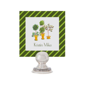 Topiaries Place Card printed on White paper.