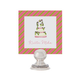 White Wedding Cake Place Card printed on White paper.