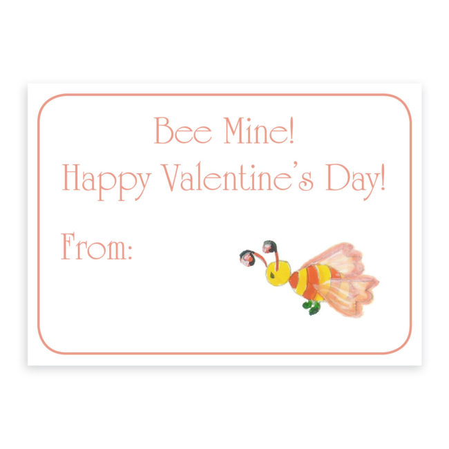 Bee Valentine card on heavy white paper