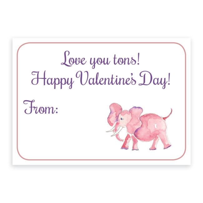 Pink Elephant Valentine printed on heavy white paper.