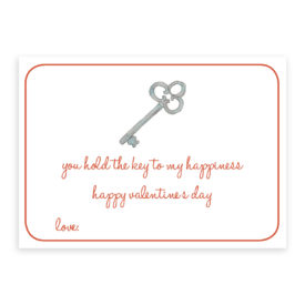 Valentine Card with a Key image printed on heavy white card stock.