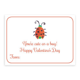 Ladybug Valentine card printed on heavy white card stock