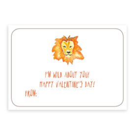 Lion valentine card printed on white card stock