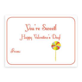 Lollipop valentine printed on white card stock paper