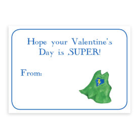 Superhero Valentine card printed on heavy white paper