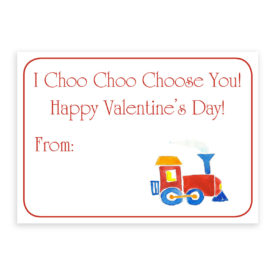 Train Valentine printed on heavy white paper
