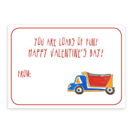 Truck Valentine card printed on heavy white paper.