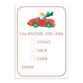 Car Valentine printed on heavy white card stock paper
