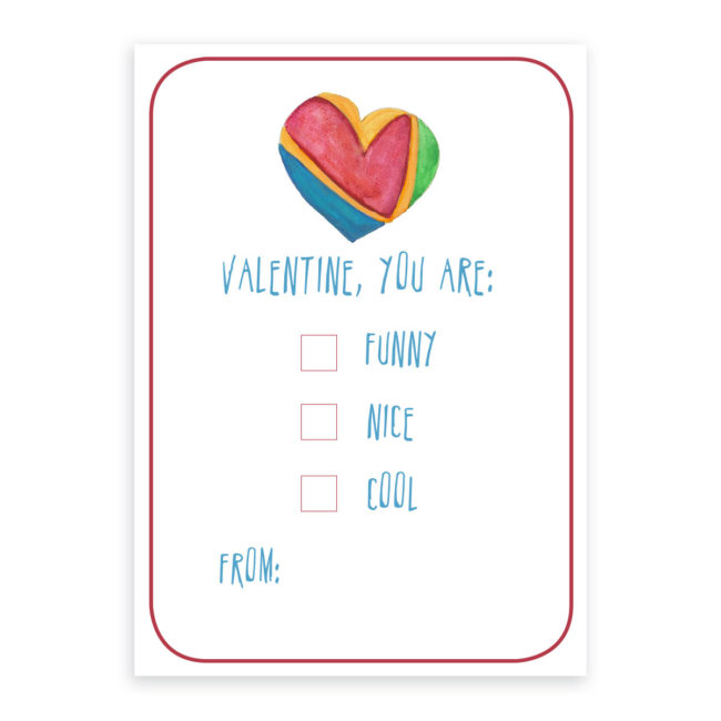 Colorful Heart Valentine card printed on heavy white paper.